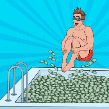 Pop Art Happy Man Jumping to the Pool of Money